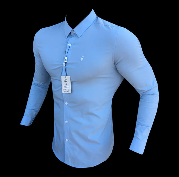 Father Sons Super Slim Pale Blue Ultra Stretch Shirt (White embroidery) - FS618