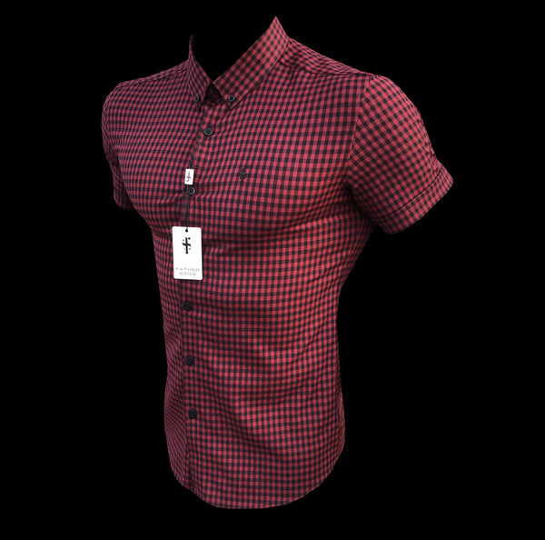 Father Sons Super Slim Ultra Stretch Red & Black Check Short Sleeve - FS514