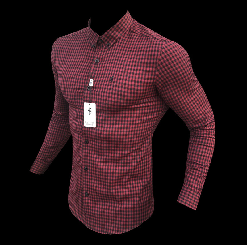Father Sons Super Slim Ultra Stretch Red & Black Check - FS473