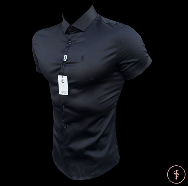 Father Sons Slim Sateen Classic Black Short Sleeve - FS546  (PRE ORDER / DISPATCH DATE 5TH AUGUST)