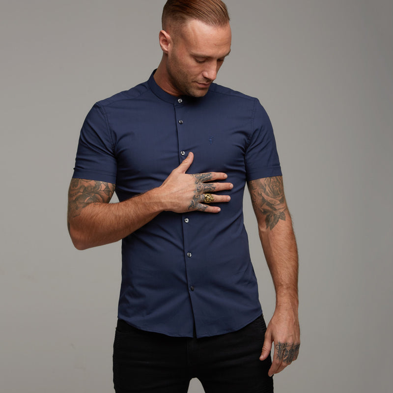 Father Sons Super Slim Stretch Classic Navy Grandad Collar Short Sleeve - FS182