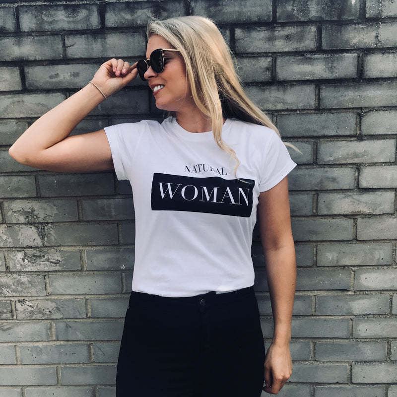 'NATURAL WOMAN' WHITE - CT083 SLOGAN T SHIRT