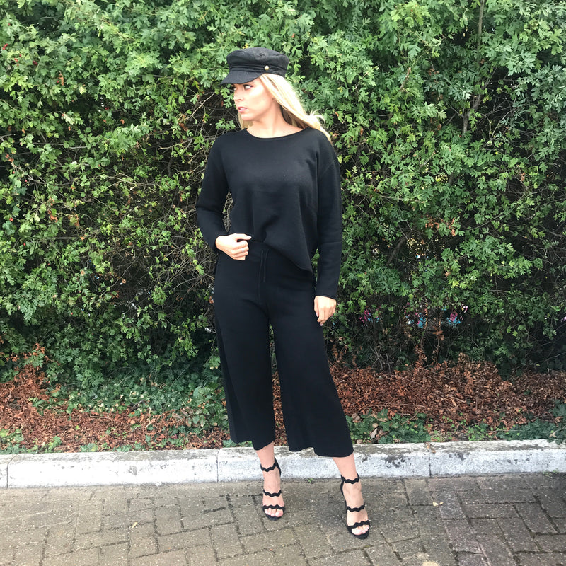 'ELLA' Knit Black Lux Co Ord Set - CT087