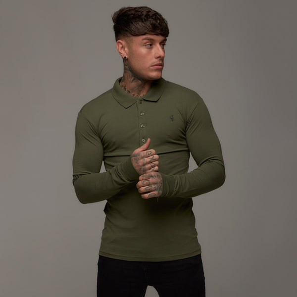 Father Sons Classic Khaki Polo Long Sleeve Shirt - FSH035  (PRE-ORDER 17TH MAY)