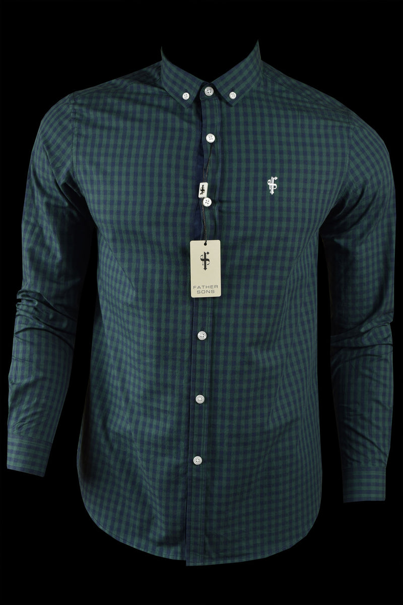 Father Sons Green & Navy Tartan Long Sleeve - FS083