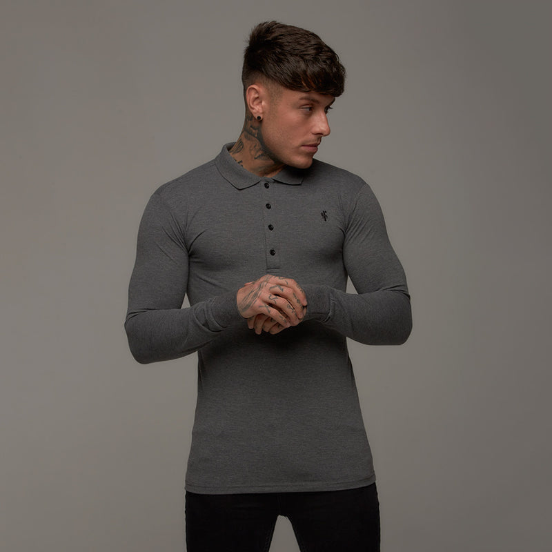 Father Sons Classic Dark Grey Long Sleeve Polo Shirt FSH037
