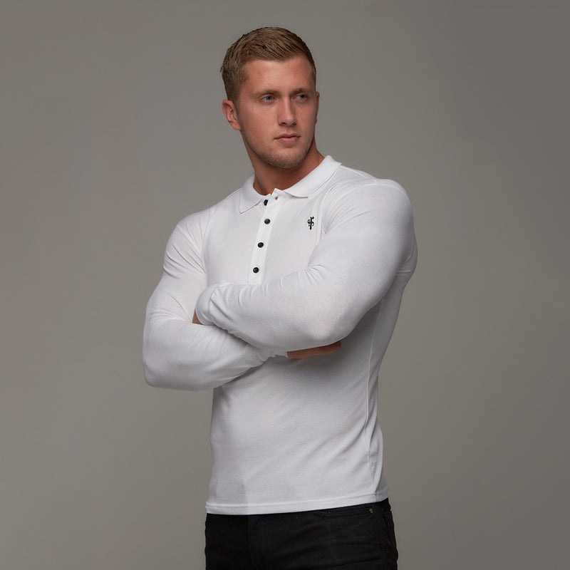 Father Sons Classic White Polo Long Sleeve Shirt - FSH039