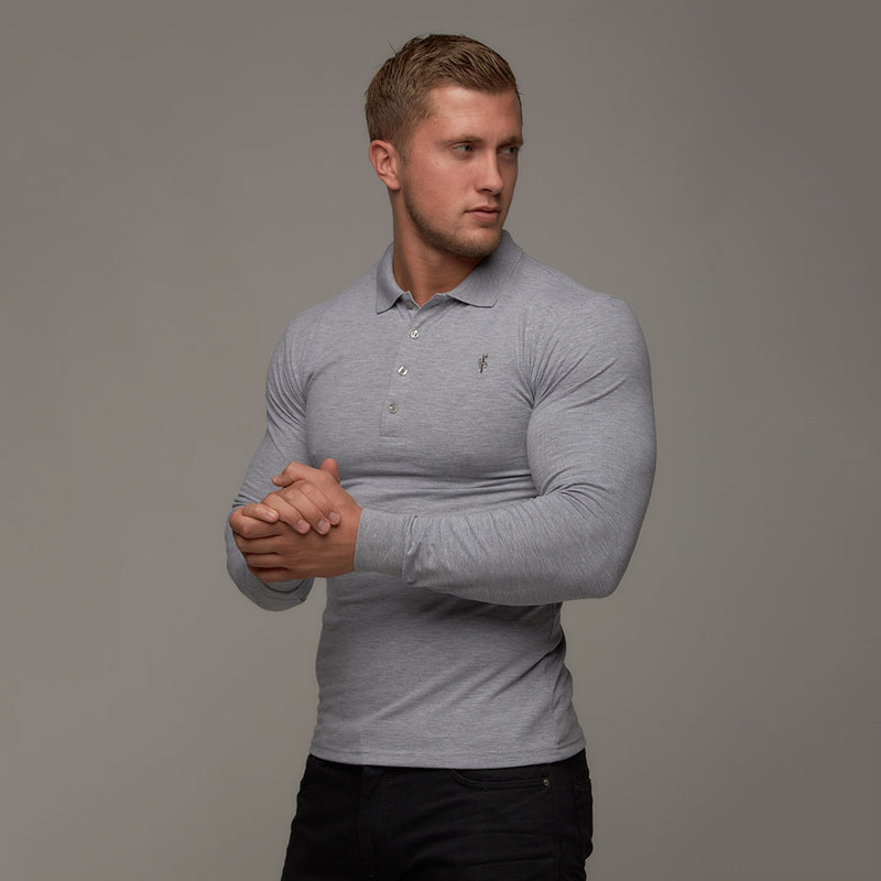 Father Sons Classic Grey Long Sleeve Polo Shirt FSH040