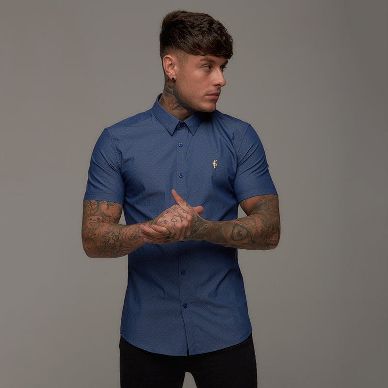 Father Sons Super Slim Stretch Classic Blue Dobby Short Sleeve - FS266