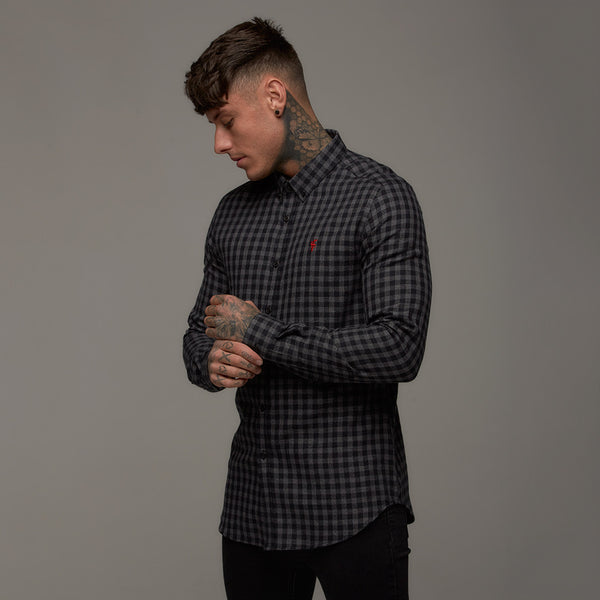 Father Sons Classic Black & Grey Metz Check Long Sleeve (Red Emblem) - FS269