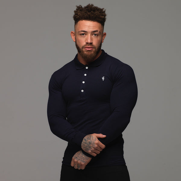 Father Sons Classic Navy Polo Long Sleeve Shirt - FSH036 (PRE ORDER > 24TH SEPTEMBER)
