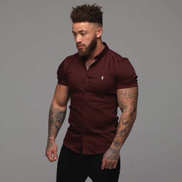 Father Sons Super Slim Stretch Burgundy Denim Short Sleeve - FS204