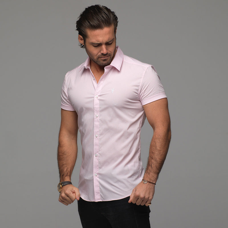 Father Sons Super Slim Stretch Classic Pink Short Sleeve - FS184