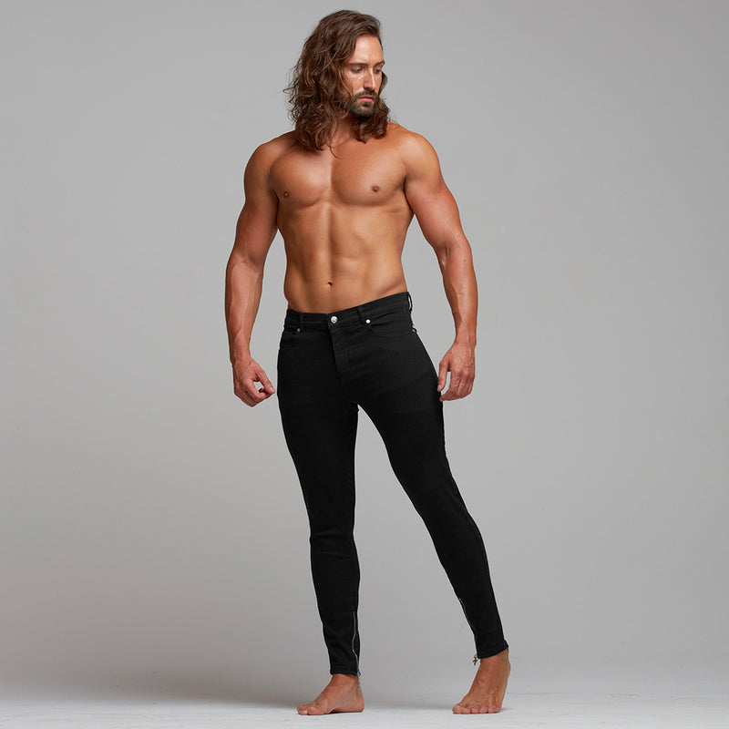 Father Sons Zipped Ankle Slim Ultra Stretch Black Jeans - FSH281