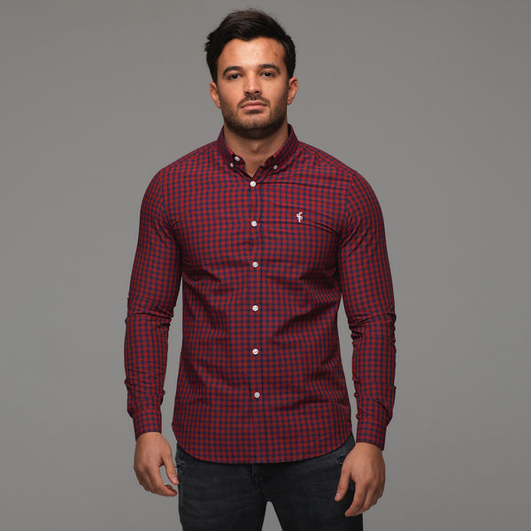 Father Sons Classic Red & Navy Check Long Sleeve - FS262
