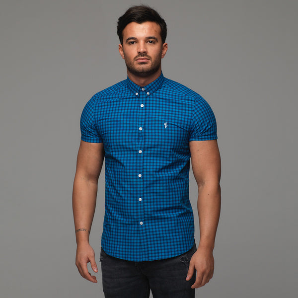 Father Sons Classic Turquoise & Navy Check Short Sleeve - FS265