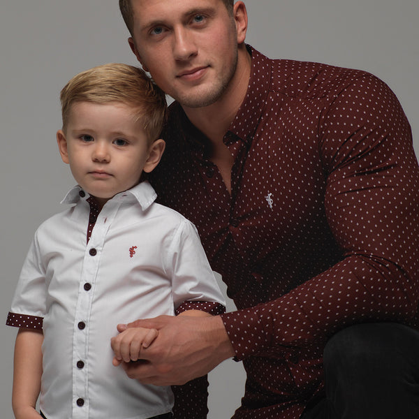 Father Sons Boys White & Burgundy Polkadot Contrast - FSB010