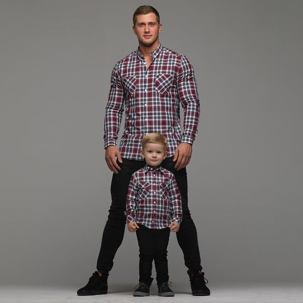 Father Sons Boys Navy & Red Check - FSB016