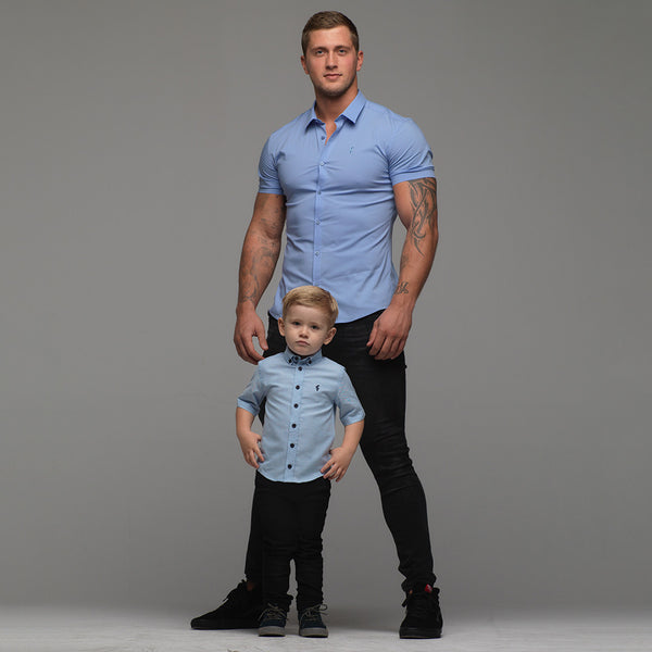 Father Sons Boys Blue Oxford Contrast - FSB003