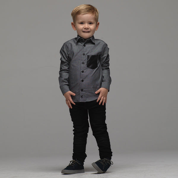 Father Sons Boys Grey & Black Leather Pocket - FSB014