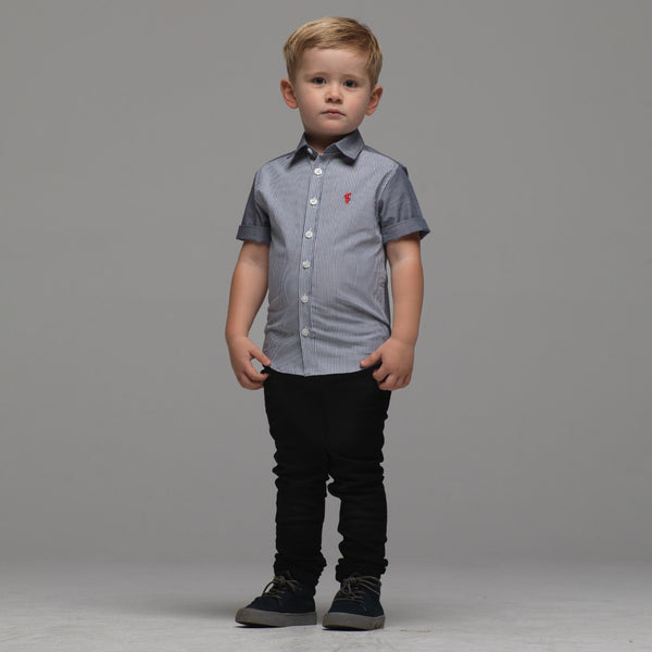 Father Sons Boys Denim Blue & White Stripe Short Sleeve - FSB012