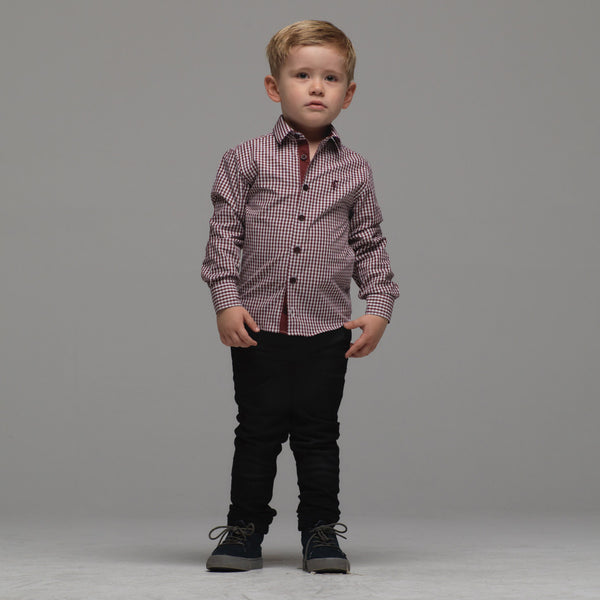 Father Sons Boys Burgundy Check - FSB015