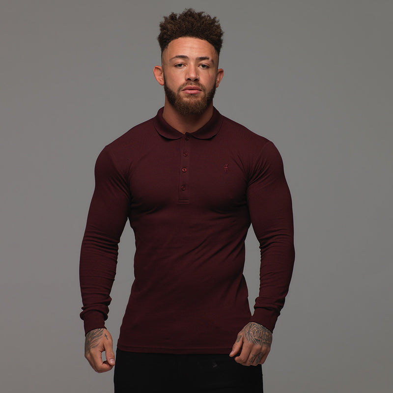 Father Sons Classic Burgundy Long Sleeve Polo Shirt FSH034