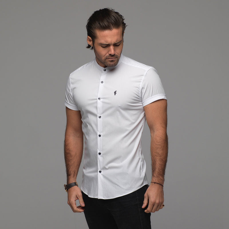 Father Sons Super Slim Stretch Classic White Grandad Collar Short Sleeve - FS172