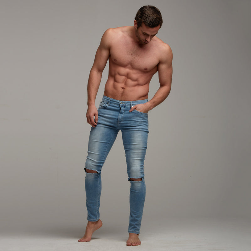 Father Sons Ripped Slim Stretch Light Blue Jeans - FSH103