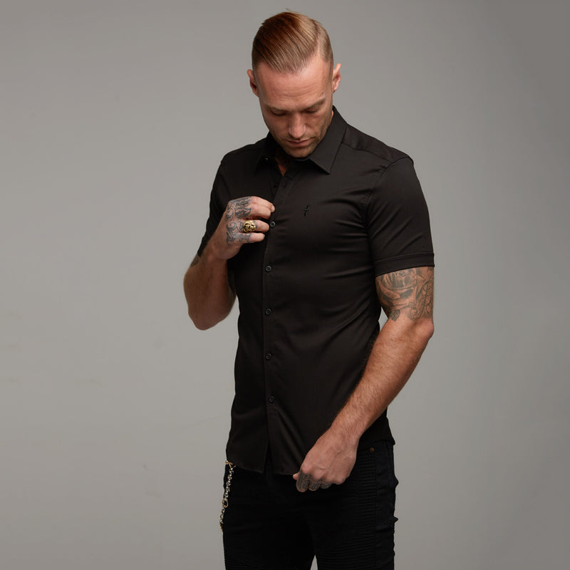 Father Sons Super Slim Luxe Ultra Stretch Classic Black Short Sleeve -  FS227