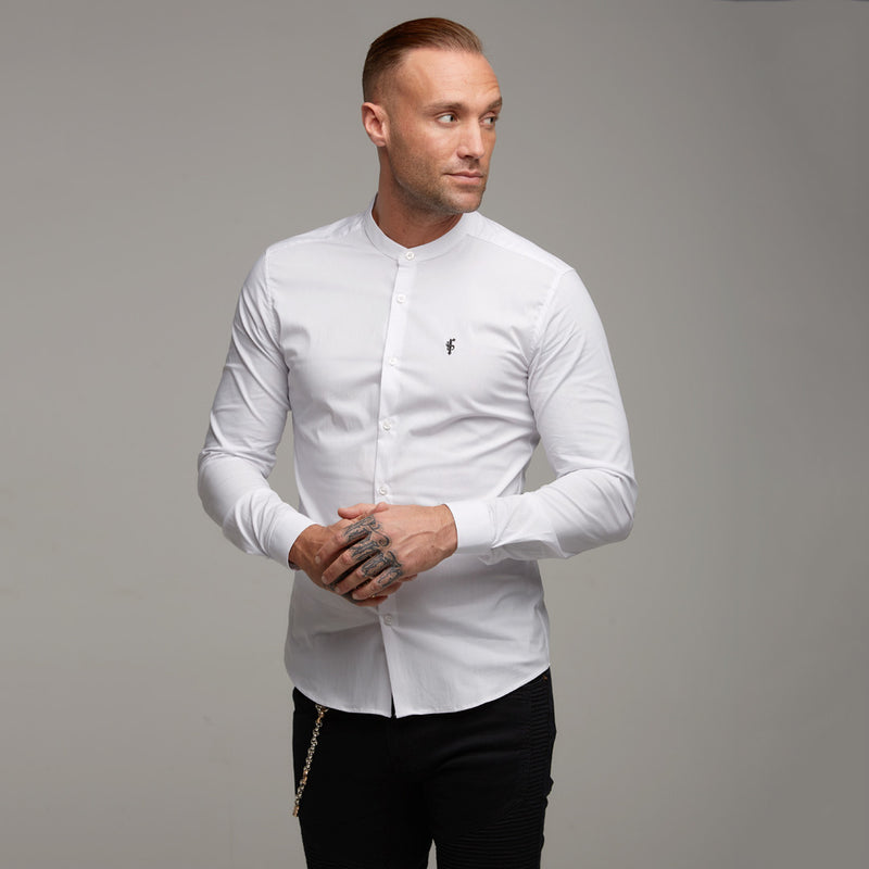 Father Sons Super Slim Stretch Classic White Grandad Collar - FS170