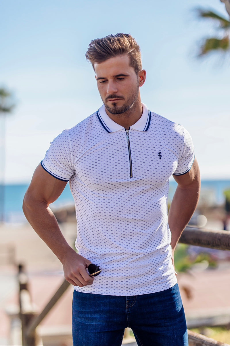 Father Sons Navy and White Printed Zip Polo Shirt - FSH381