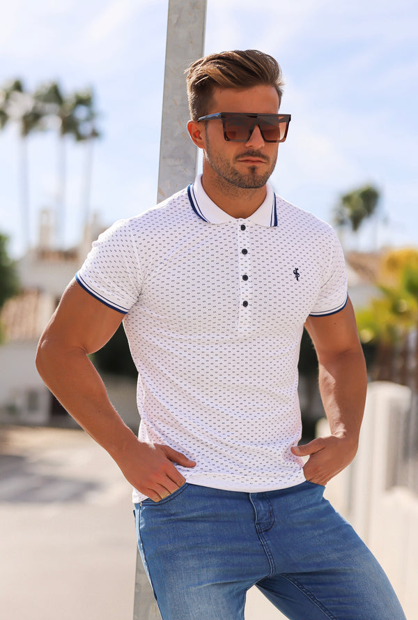 Father Sons Navy and White Printed Classic Polo Shirt - FSH380