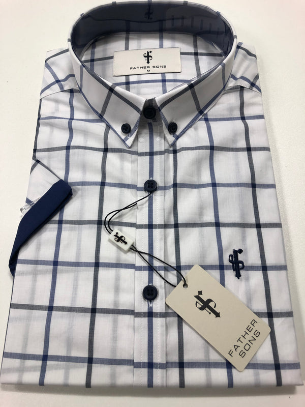 Father Sons Classic White Navy Check Print Short Sleeve - FS192