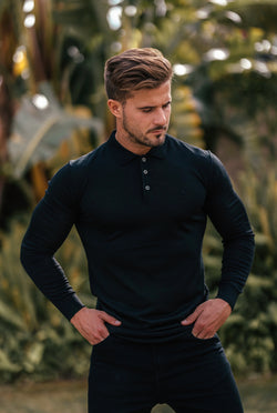 Father Sons Classic Black Knitted Long Sleeve Polo Shirt - FSH177