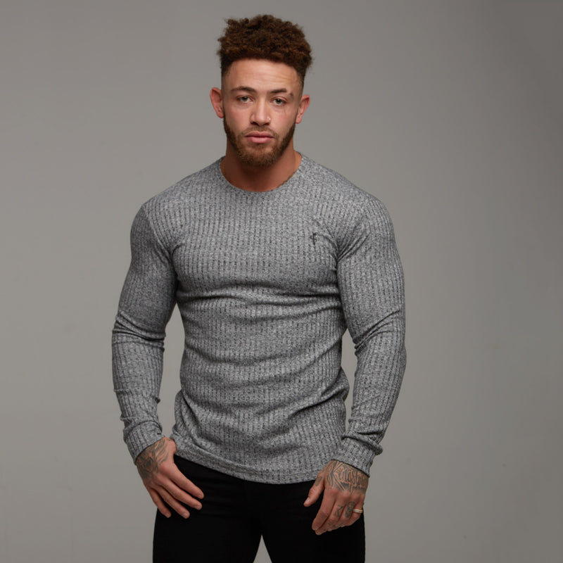 Father Sons Classic Grey & Black Ribbed Knit Jumper - FSH079
