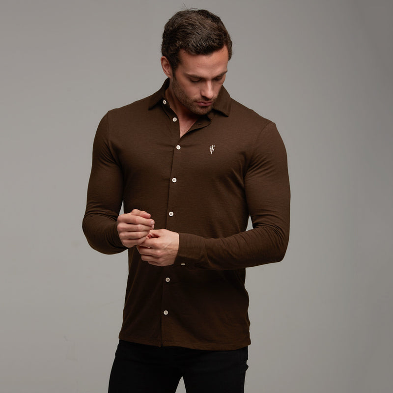Father Sons Super Slim Chocolate Brown Jersey Long Sleeve - FSH06