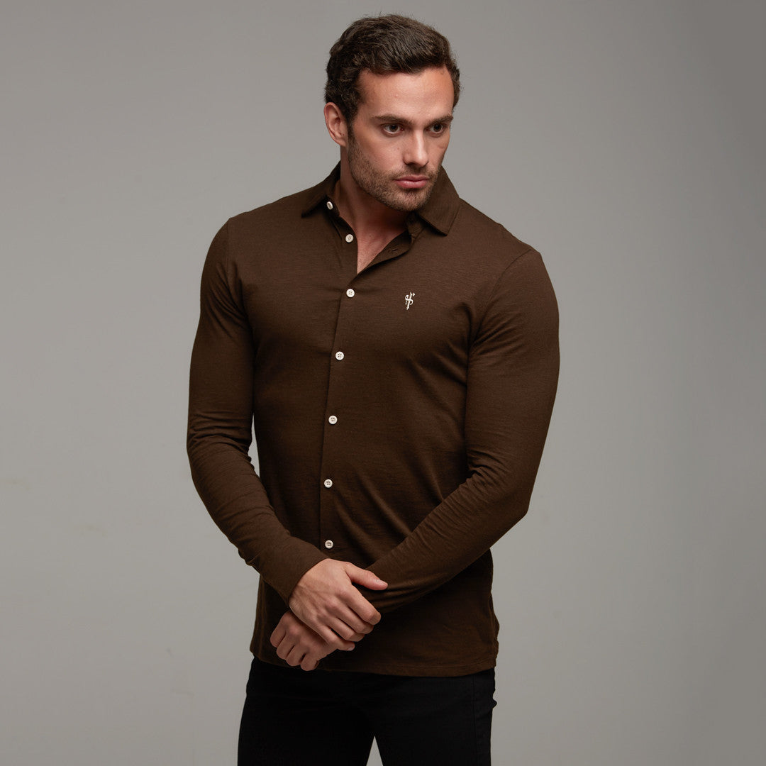Jersey shirts father sons for Mens chocolate brown shirt