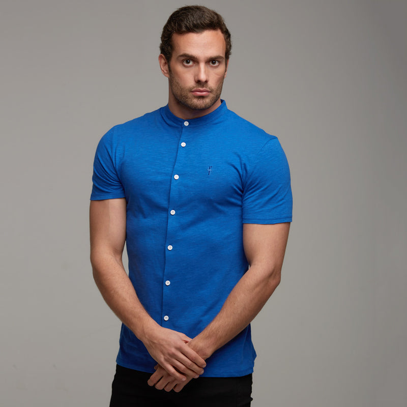 Father Sons Super Slim Royal Blue Grandad Collar Jersey Short Sleeve - FSH021