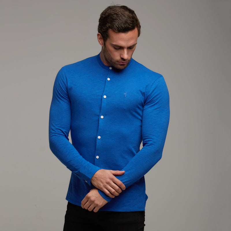 Father Sons Super Slim Royal Blue Grandad Collar Jersey - FSH011