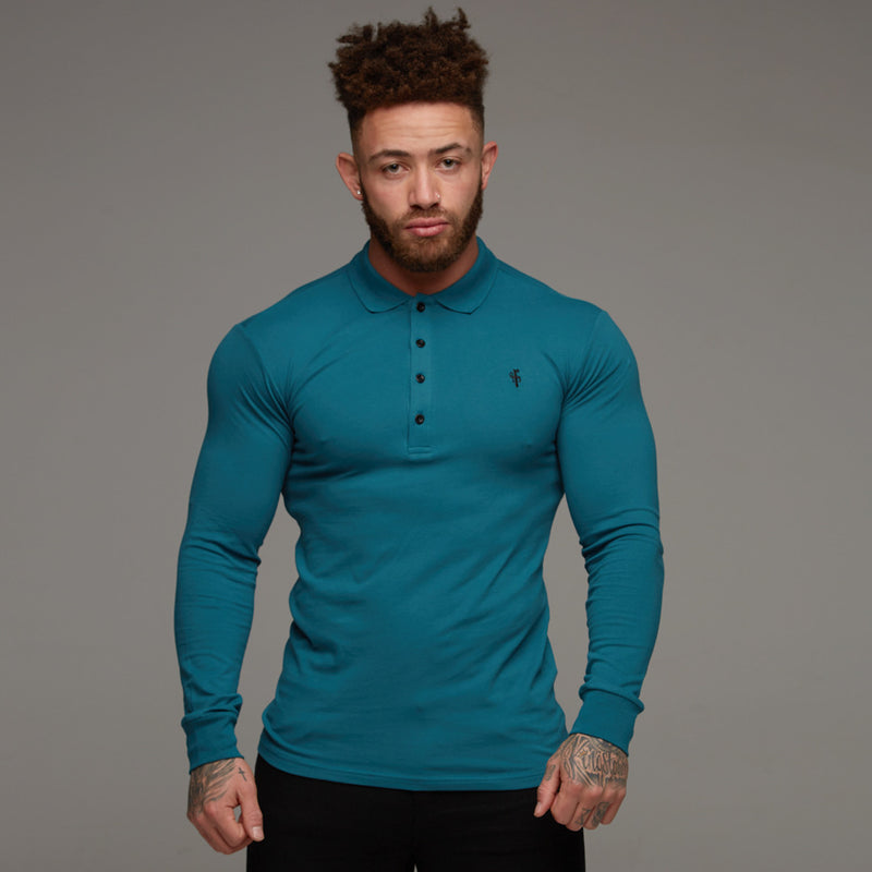 Father Sons Classic Teal Polo Long Sleeve Shirt - FSH105
