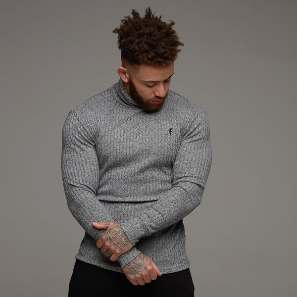 Father Sons Classic Grey & Black Roll Neck Ribbed Knit Jumper - FSH119 (PRE ORDER 7TH DECEMBER)