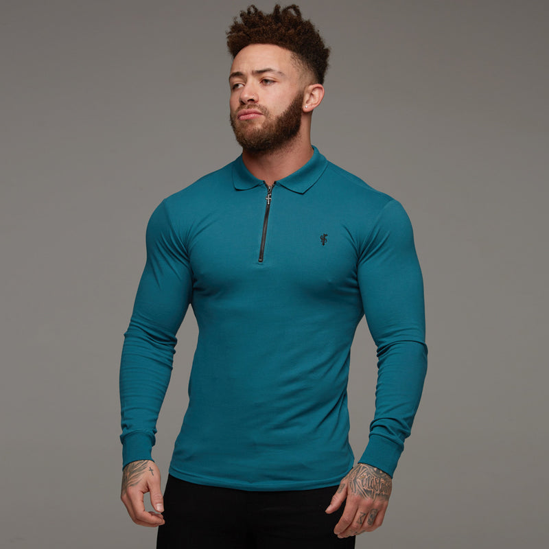 Father Sons Classic Teal Zipped Polo Long Sleeve Shirt - FSH107
