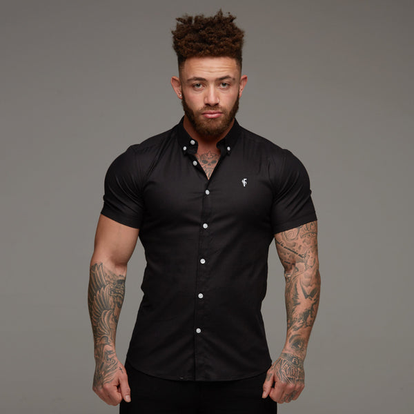 Father Sons Super Slim Stretch Classic Oxford Black Short Sleeve - FS303