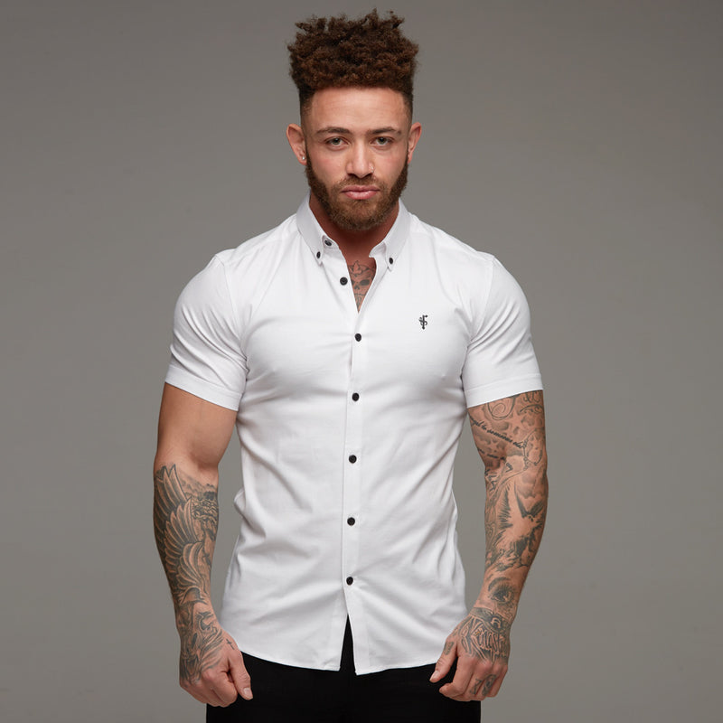 Father Sons Super Slim Stretch Classic Oxford White Short Sleeve - FS301