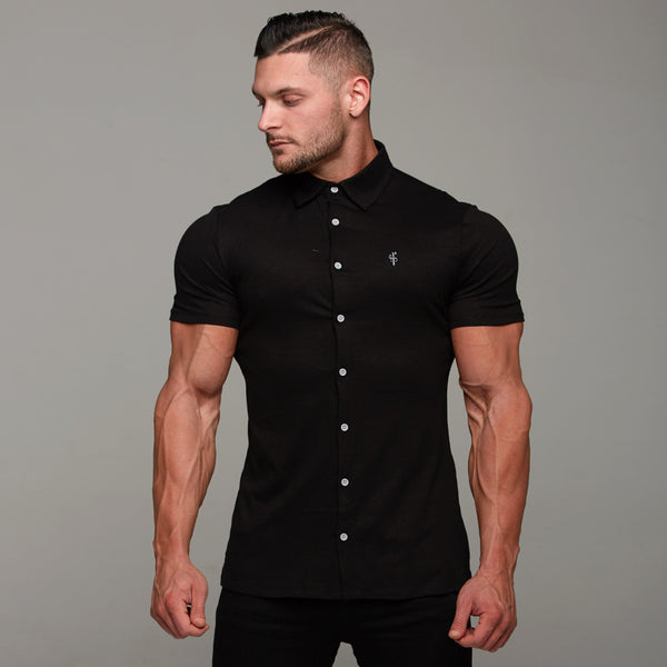 Father Sons Super Slim Black Jersey Short Sleeve - FSH018