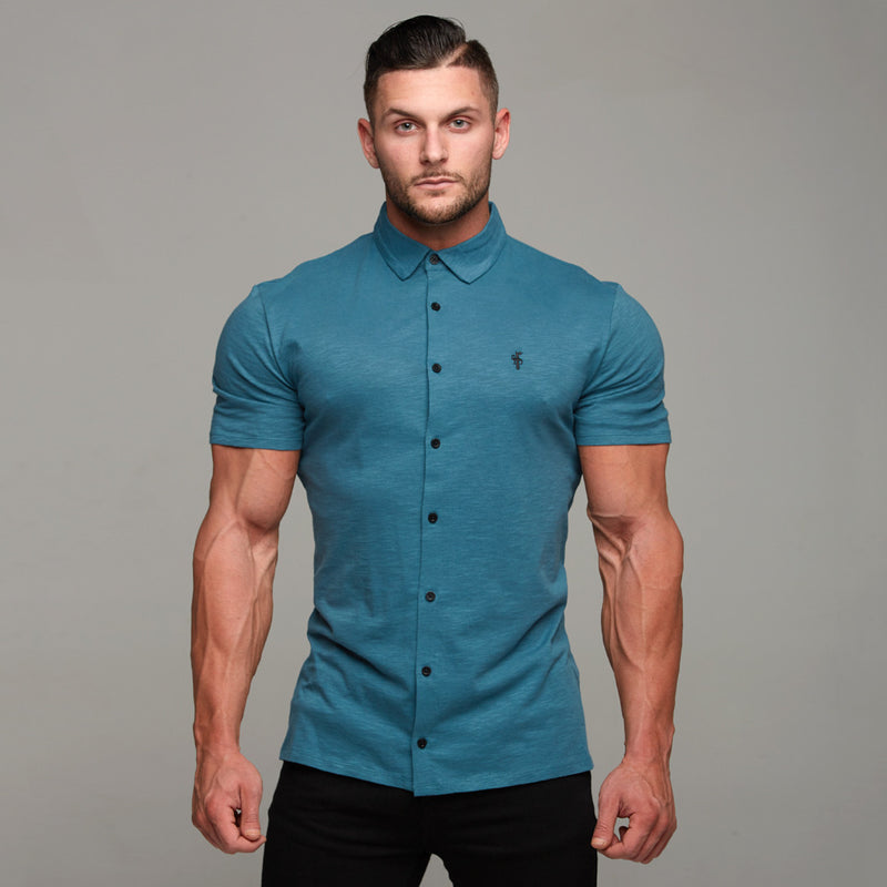 Father Sons Super Slim Teal Short Sleeve Jersey - FSH121