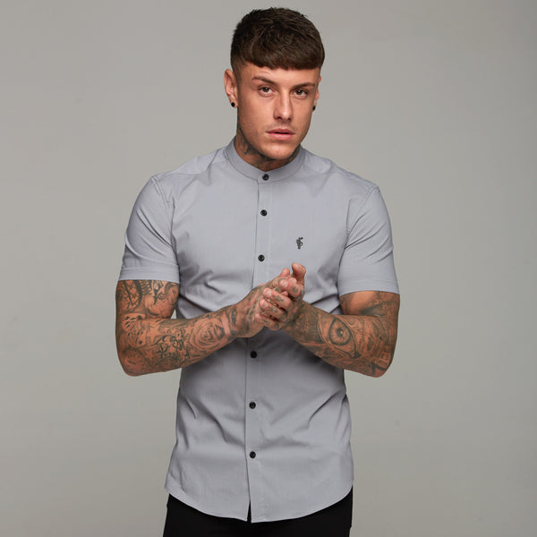 Father Sons Super Slim Stretch Classic Silver Grey Grandad Collar Short Sleeve - FS288