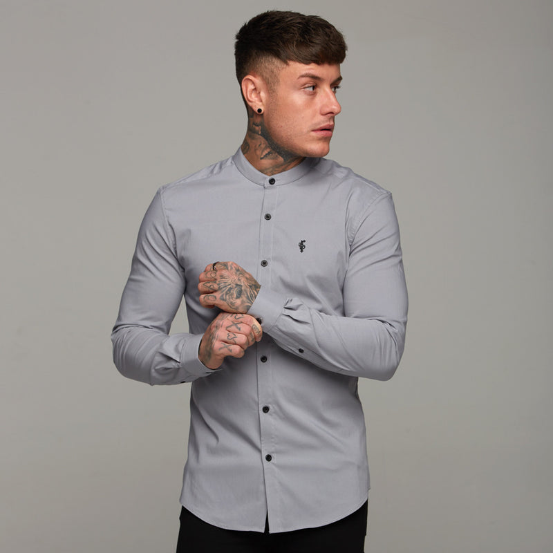 Father Sons Super Slim Stretch Classic Silver Grey Grandad Collar - FS289
