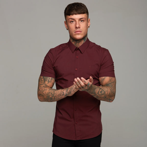 Father Sons Super Slim Stretch Classic Burgundy Short Sleeve - FS236